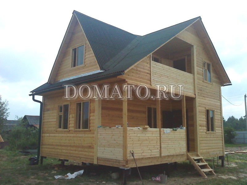 Дом из бруса по проекту Д22, фото 6х8