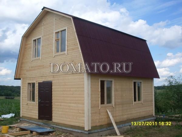Дом с кровлей ондулин(коричневый)