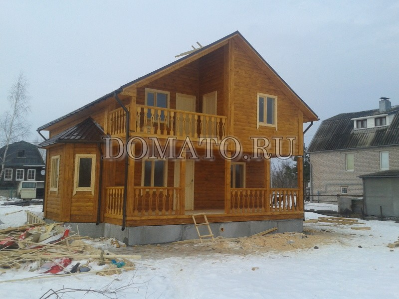 Дом из бруса по проекту Д27