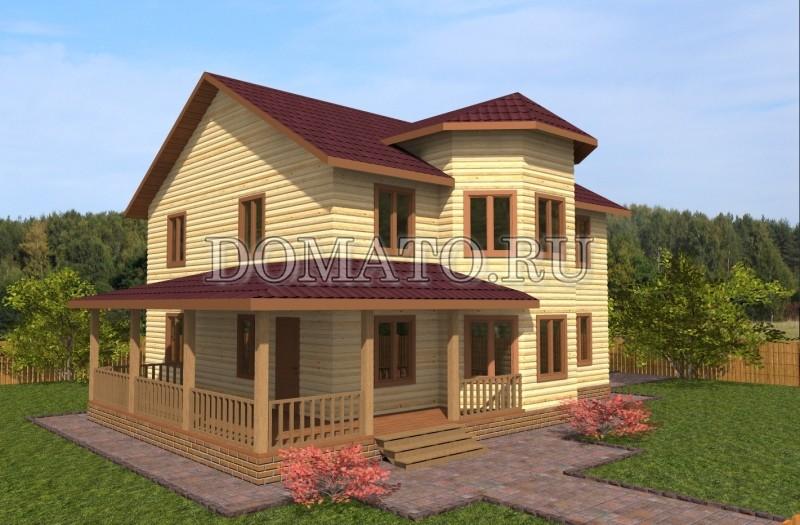 Двухэтажный дом 14×10.5 с эркером