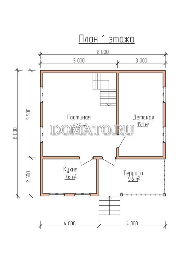 План 1 этажа проект 8х8 дома из бруса