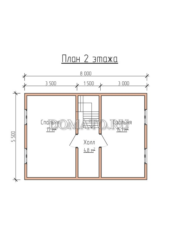 План 2 этажа проект 8х8 дома из бруса