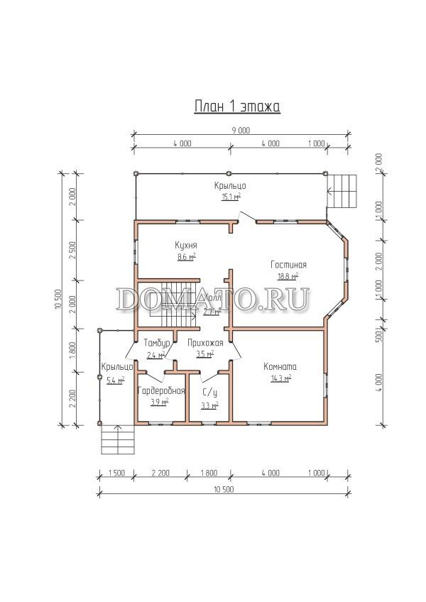 План 1 этажа, загородный дом 10.5×9