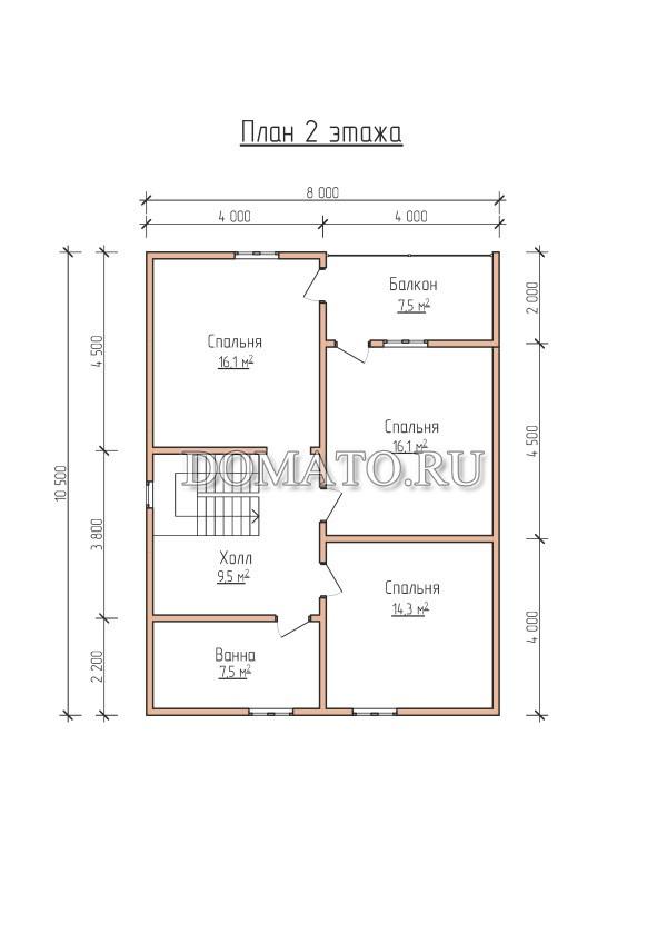 План 2 этажа, загородный дом 10.5×9