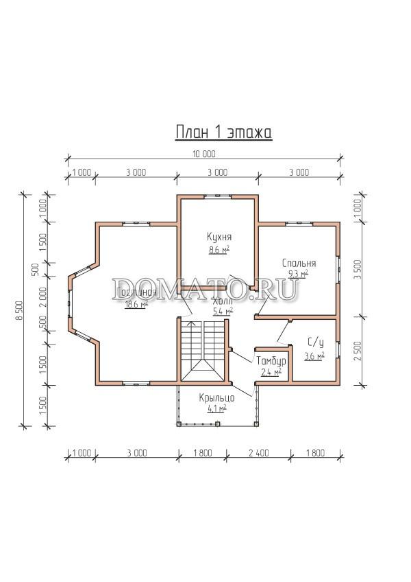 План 1 этажа,деревянный дом 10×8.5