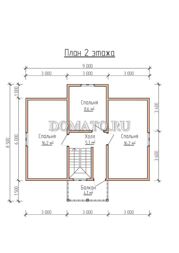 План 2 этажа,деревянный дом 10×8.5