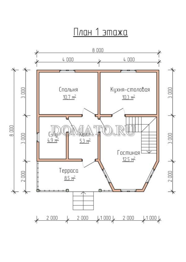 Планировка 1 этажа 8 на 8