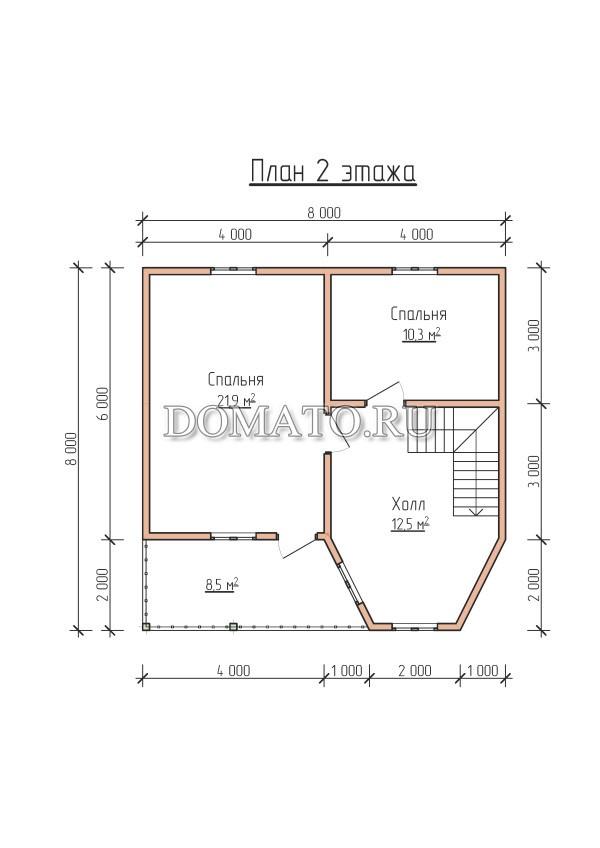 План 2 этажа, дом 8×8 с балконом