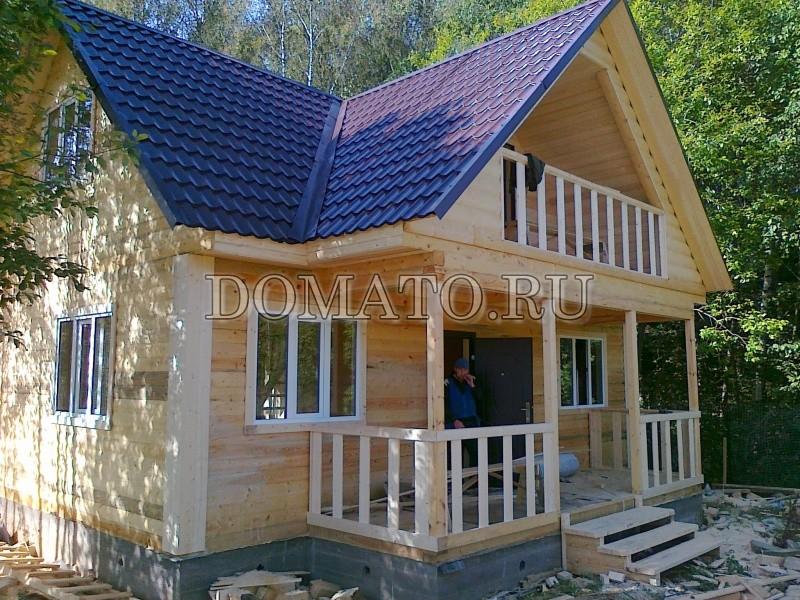 Проект дома 42, загородный дом 8х7,5 с жилой мансардой, балк.