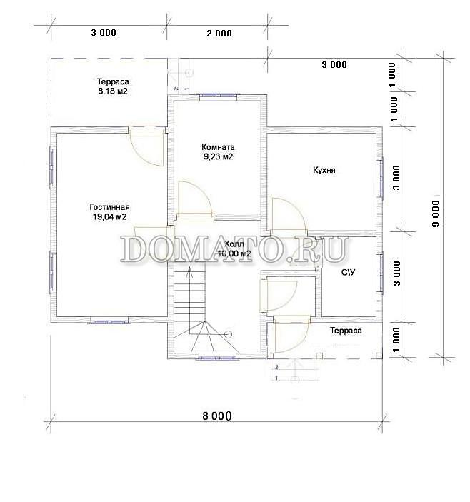 Проект дома 9×8, план 1 этажа