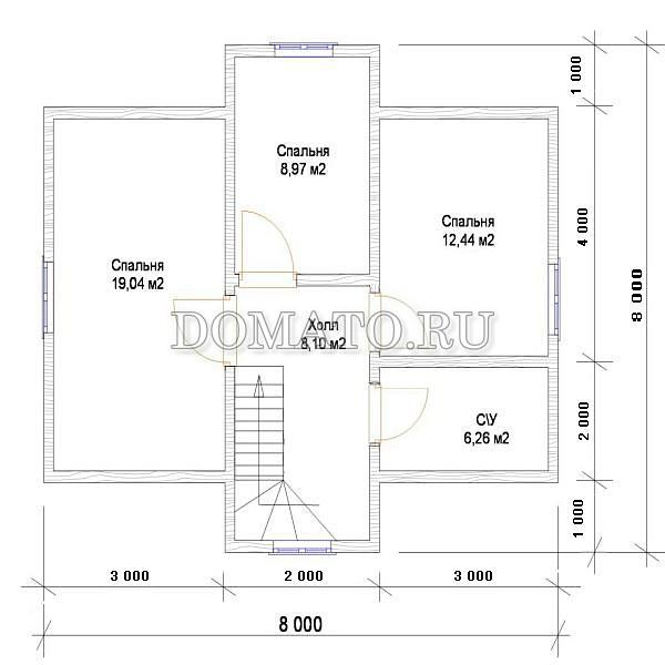 Проект дома 9×8, план 2 этажа