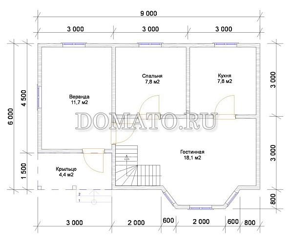 Проект Д3  9х6м. план 1 этажа