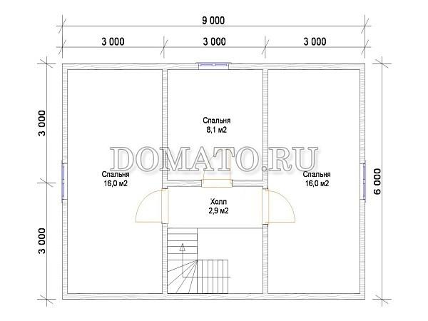 Проект Д3  9х6м. план 2 этажа