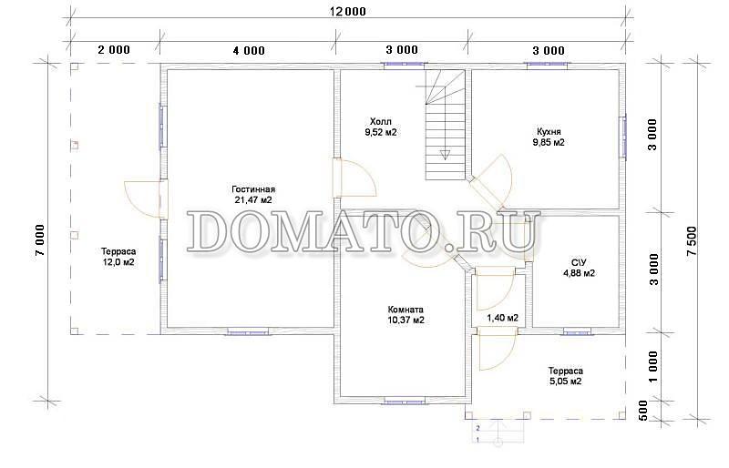 Плана 1 этажа дома 6х12