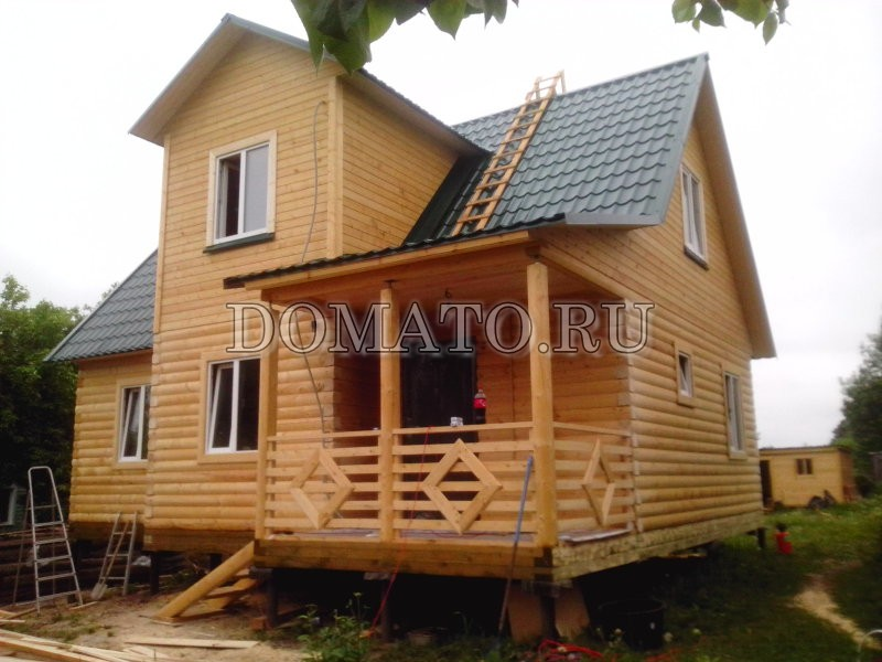 Дом из бруса по проекту Д2