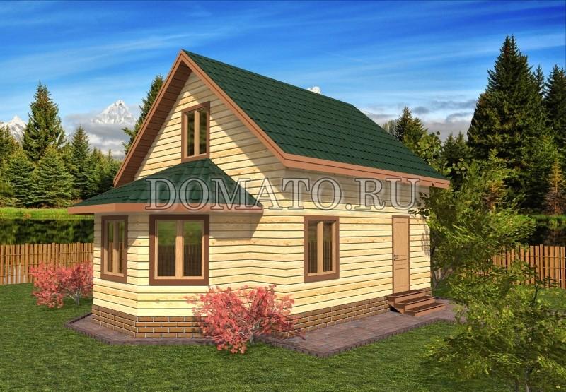 Деревянный дом 6×6 с эркером, проект Д16