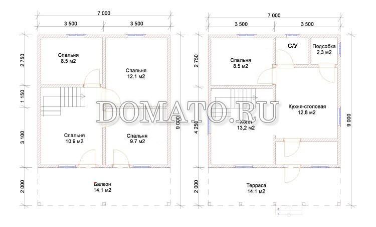планировка дома 9х7м