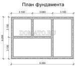 план фундамента дома 6×9 с мансардой