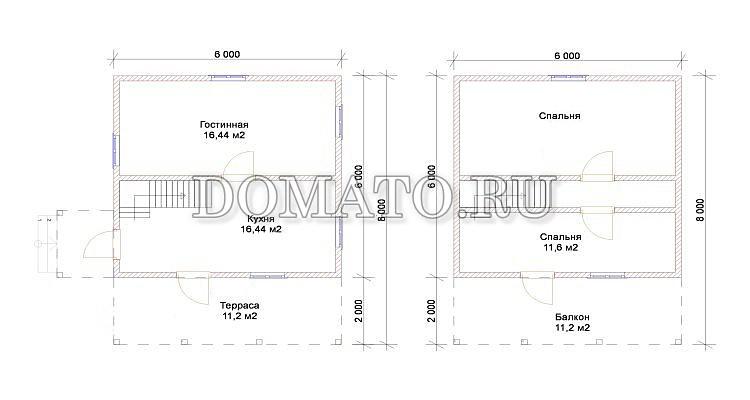 Планировка двухэтажного дома 6×8