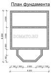 план фундамента Деревянного дома 6×6 с эркером