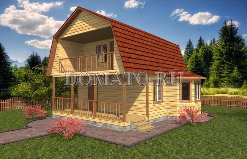Дом 8×8 с террасой, проект Д18