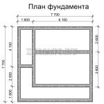 план фундамента дома 7.5×7.5 с террасой