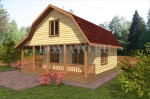 фасад дома 7.5×7.5 с террасой