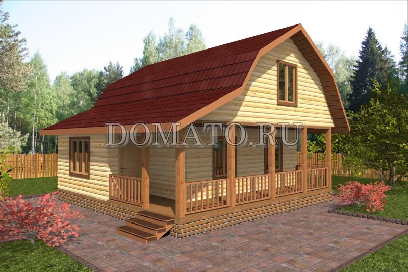 Дом 7.5×7.5 с террасой, проект Д13