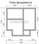 план фундамента дома из бруса 7.5×8