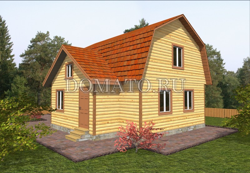 Дом из бруса 7.5×8, проект Д14