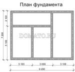 план фундамента дома 7×6 с верандой