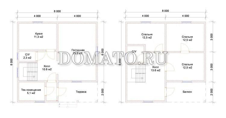 Проект дома 8×8, планы этажей
