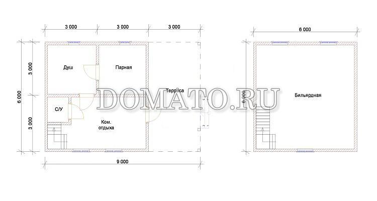 Проект дома 6х9 с террасой, план этажа