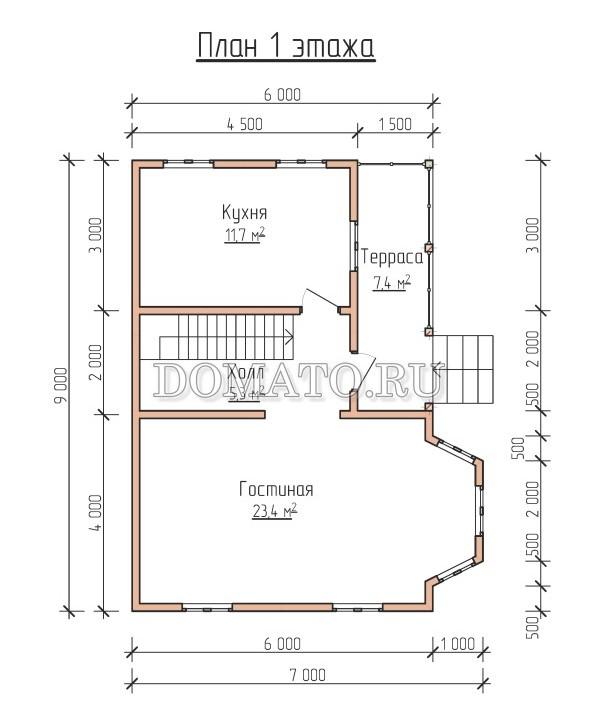план 1 этажа каркасного дома 9×7
