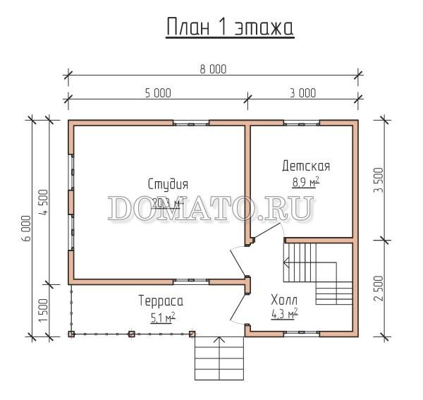 план 1 этажа каркасного дома 6×8