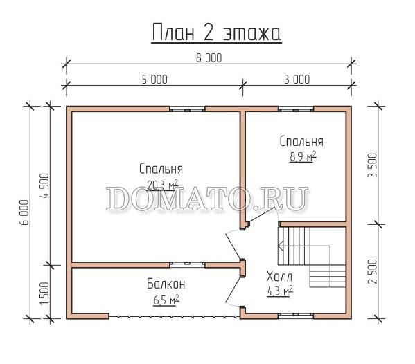 план 2 этажа каркасного дома 6×8