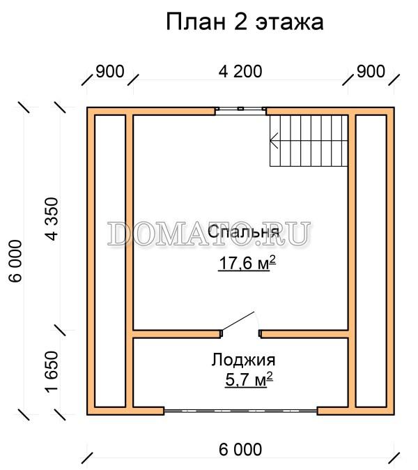 план 2 этажа дома из бруса 6×6