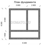 план фундамента дома из бруса 6×6