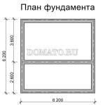план фундамента щитового дома 6×6