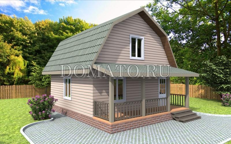 Каркасный дом 7.5×6 с террасой