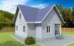 фасад каркасного дома 7.5×8
