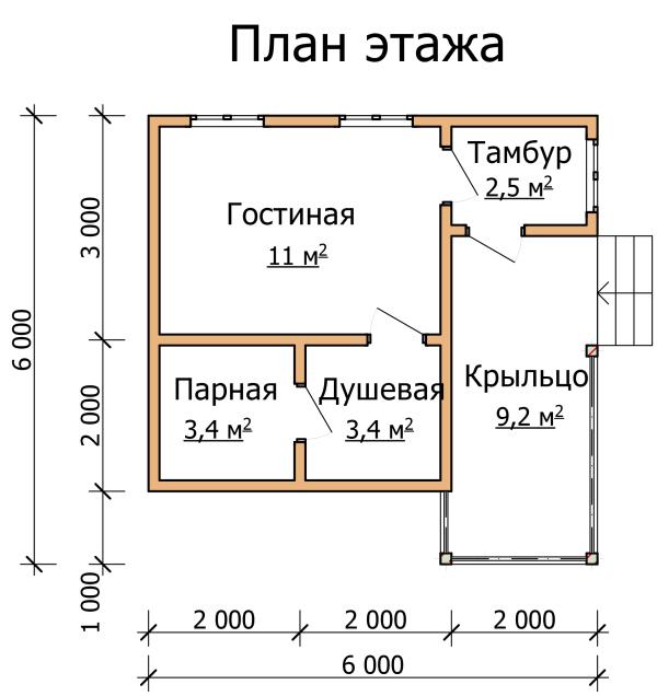 план бани 6×6