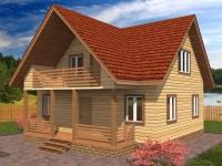 Дом  8.5×8 с террасой и третьим фронтоном
