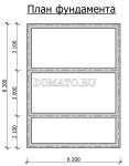 план фундамента проекта бани 6×8
