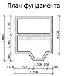 план фундамента бани 5×4 с эркером