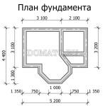 план фундамента бани 5×4 одноэтажной