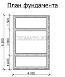 план фундамента бани 6×4 с террасой