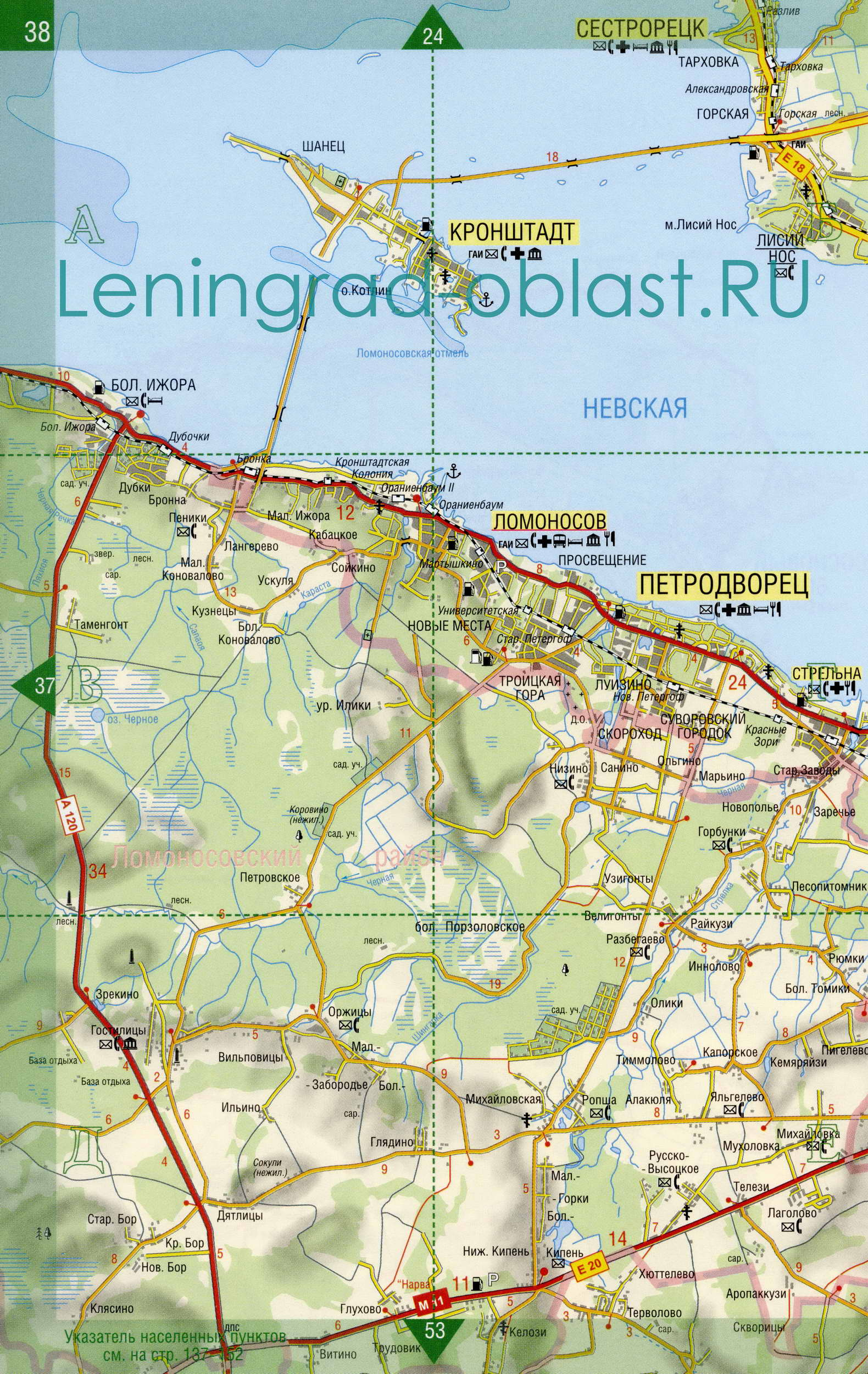 Карта Ломоносовский район