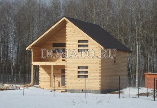 строительство дома из бруса зимой фото