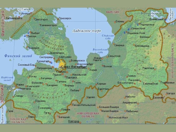 карта ленинградская область